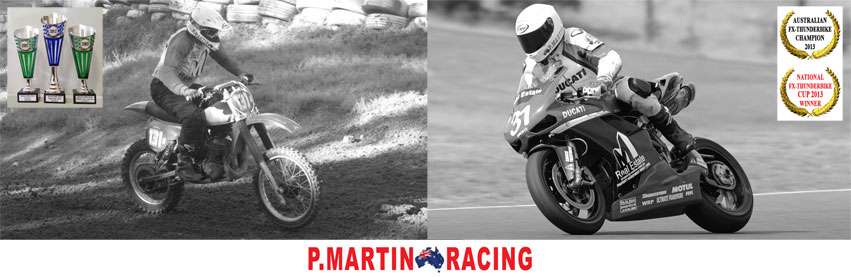 P.Martin Racing Page - Australian road racing champion, Motorcycle racing, Ducati racing, vintage motocross, promotional events, motorcycle displays, Australia.